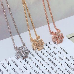 Tory Burch Simple Fashion Cross Zircon Necklace